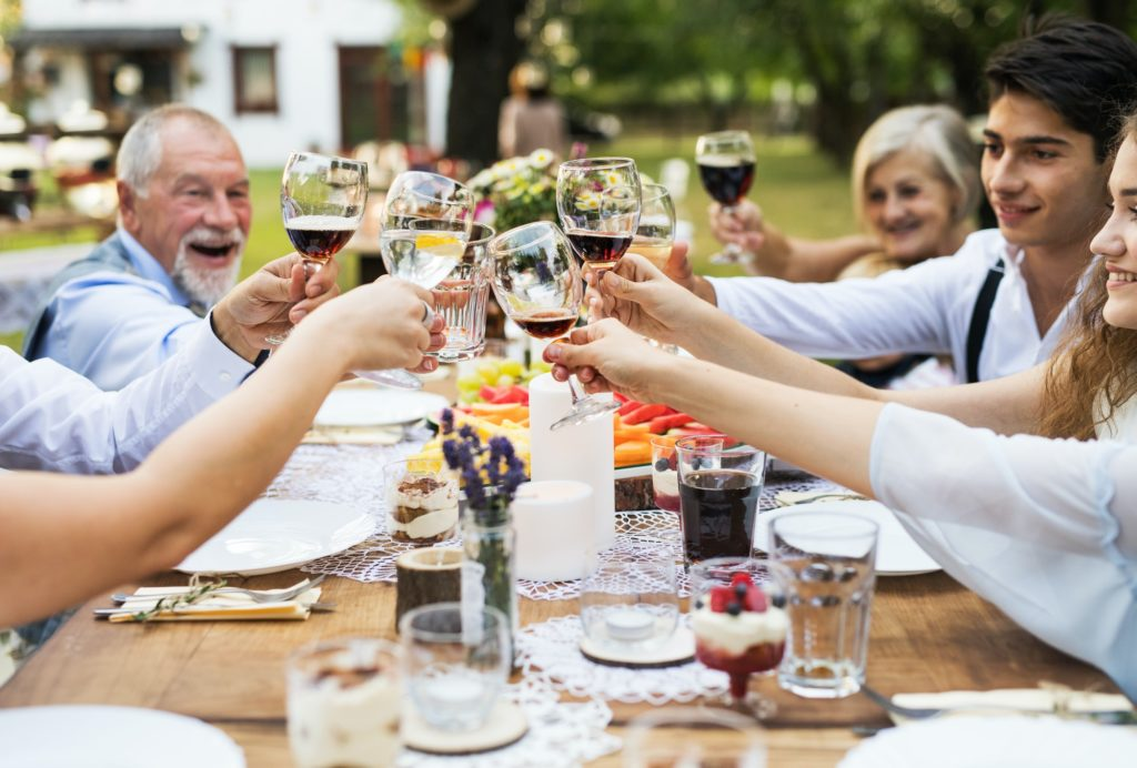 Garden party or family celebration outside in the backyard.